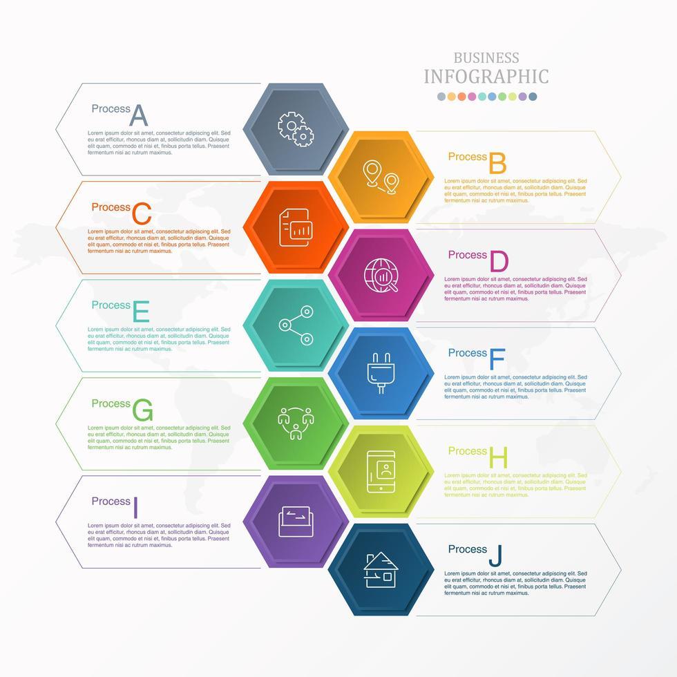 infográfico hexágono colorido com opções aj vetor