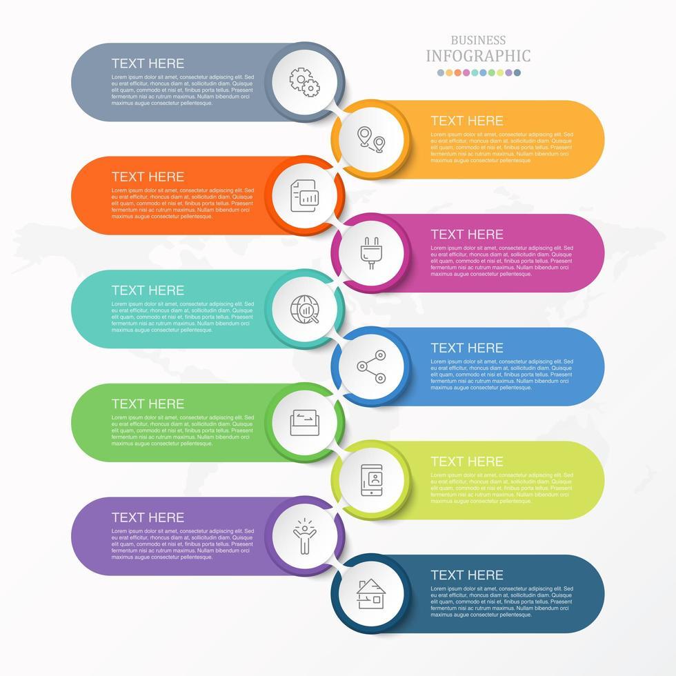 Infographie en 10 étapes avec des formes de capsules vecteur
