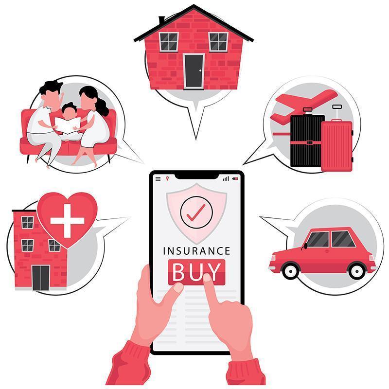 ensemble d & # 39; affaires d & # 39; assurance en ligne vecteur