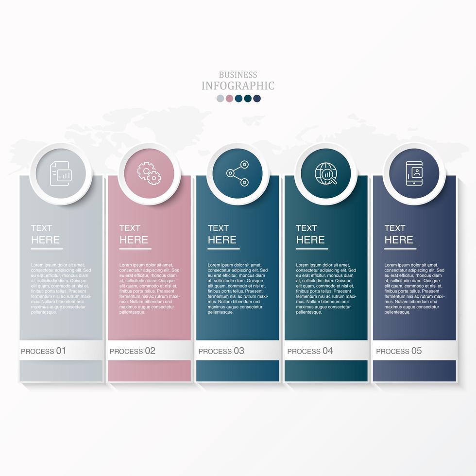 rettangolo e icone in cerchio infografica con 5 passaggi vettore