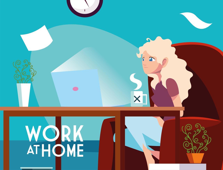 jovem freelancer trabalhando remotamente de casa vetor
