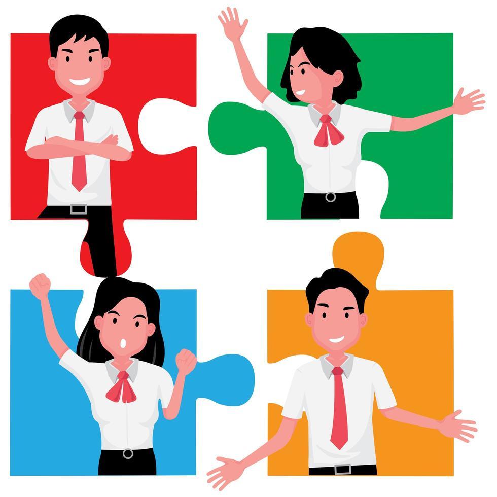 un puzzle di quattro persone che dimostrano lavoro di squadra e cooperazione vettore