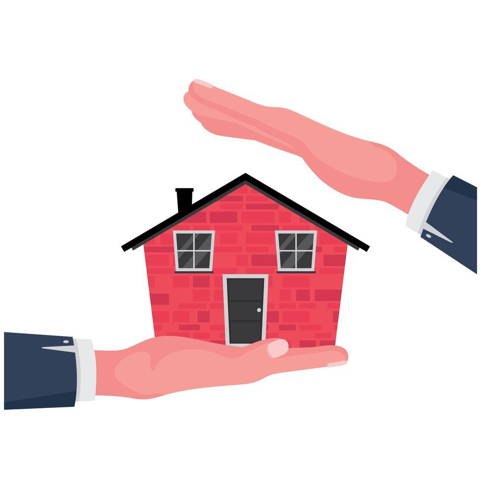 main tenant une maison rouge vecteur