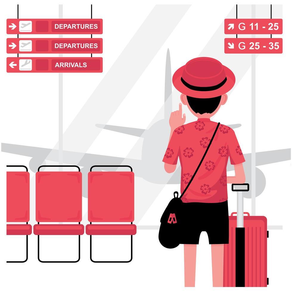 Hombre turista con equipaje en el aeropuerto. vector