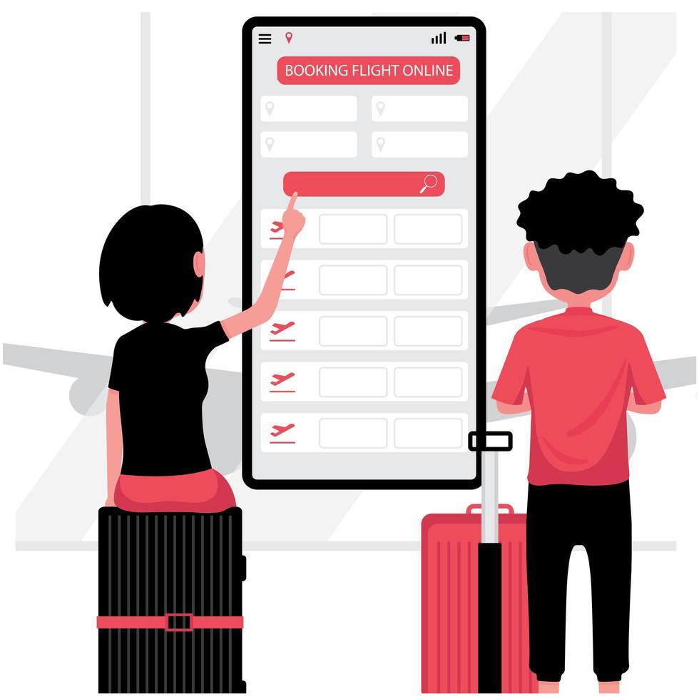 hombre y mujer reservando un vuelo online vector