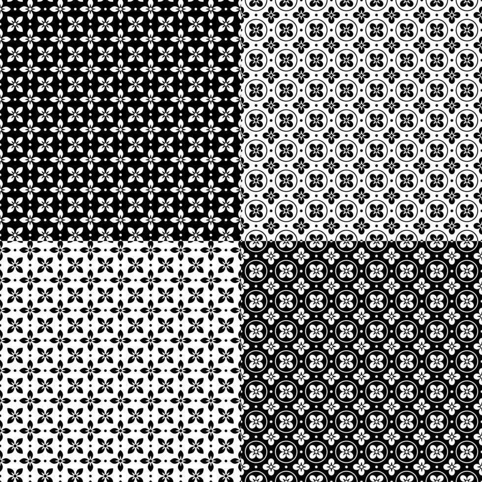 patrones sin fisuras en blanco y negro vector