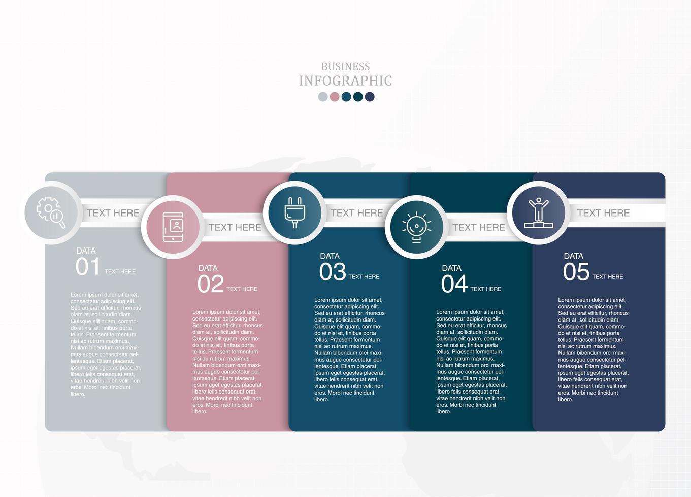 rettangolo sovrapposto a 5 passaggi infografica vettore
