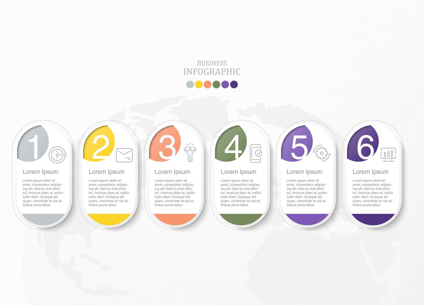 Infografía ovalada de seis procesos con iconos para empresas vector