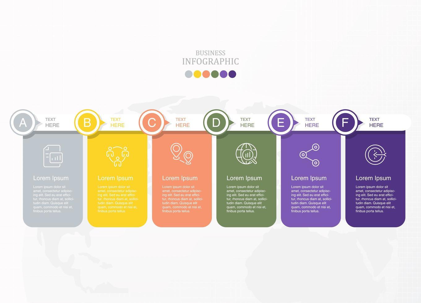 infographie rectangle arrondi coloré avec étapes af vecteur