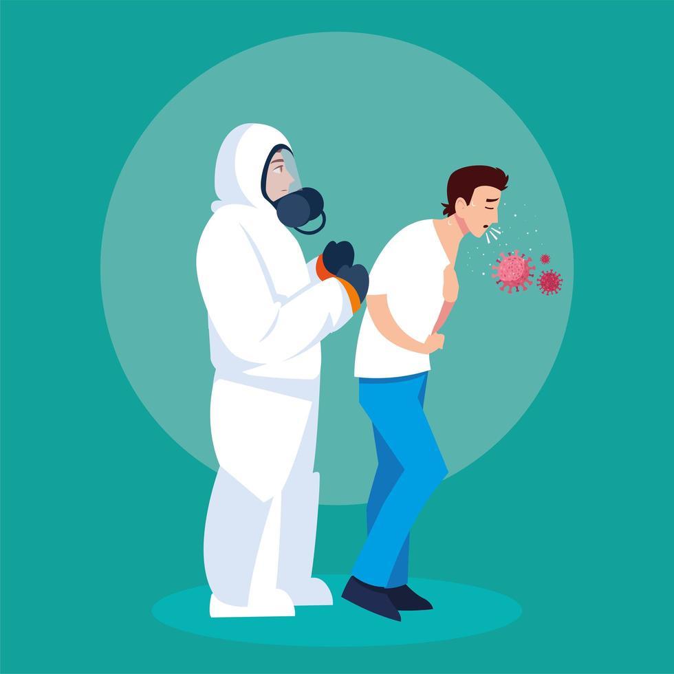 personne en tenue de protection avec homme toux infecté vecteur