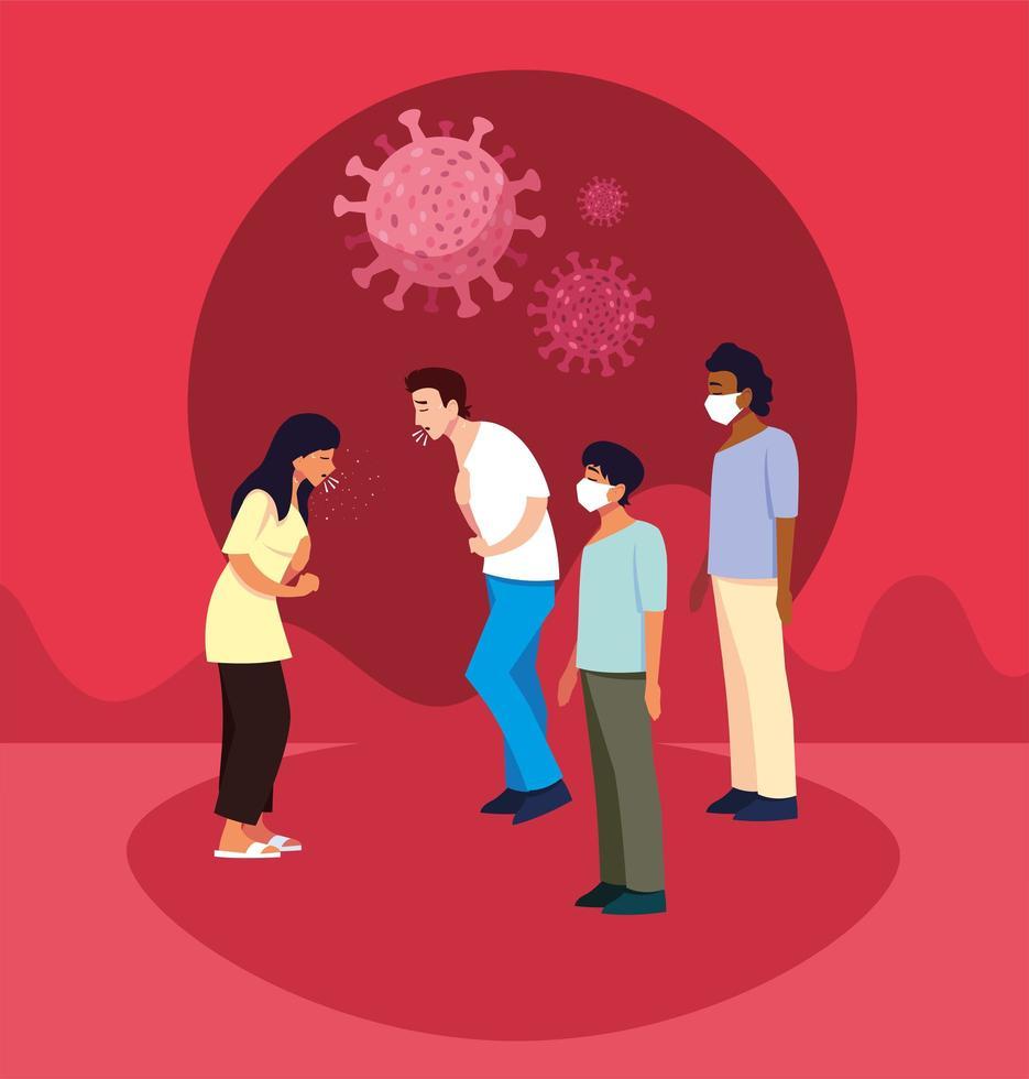gruppo di persone infette da coronavirus vettore