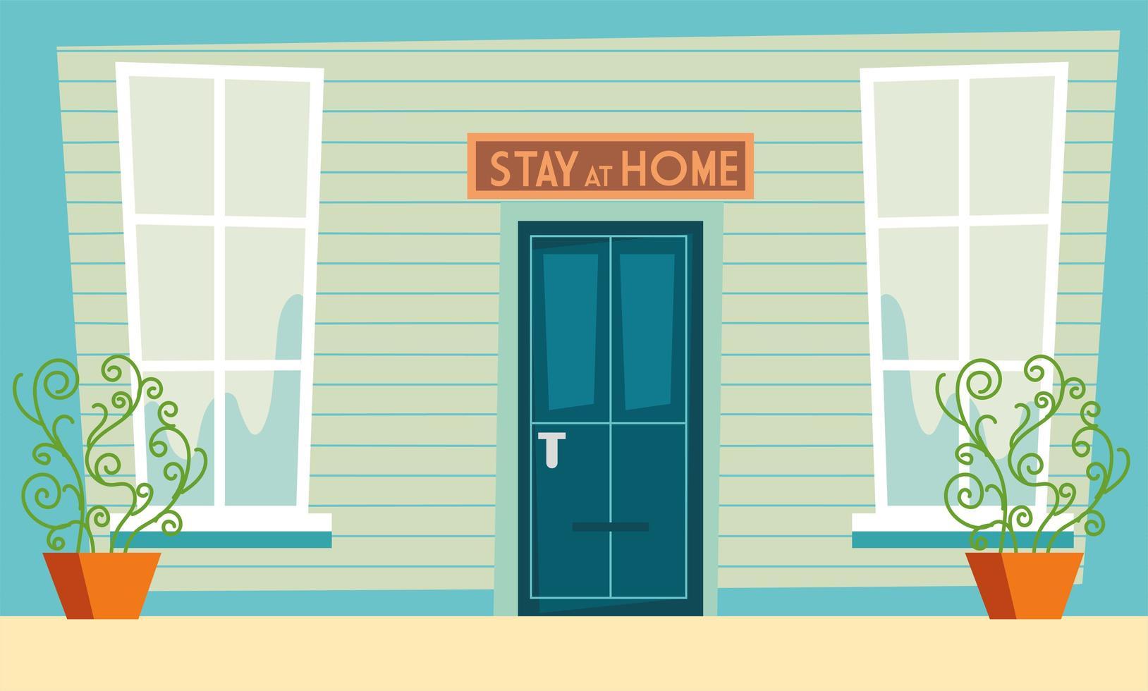 stare a casa segno di consapevolezza sopra la porta di casa vettore