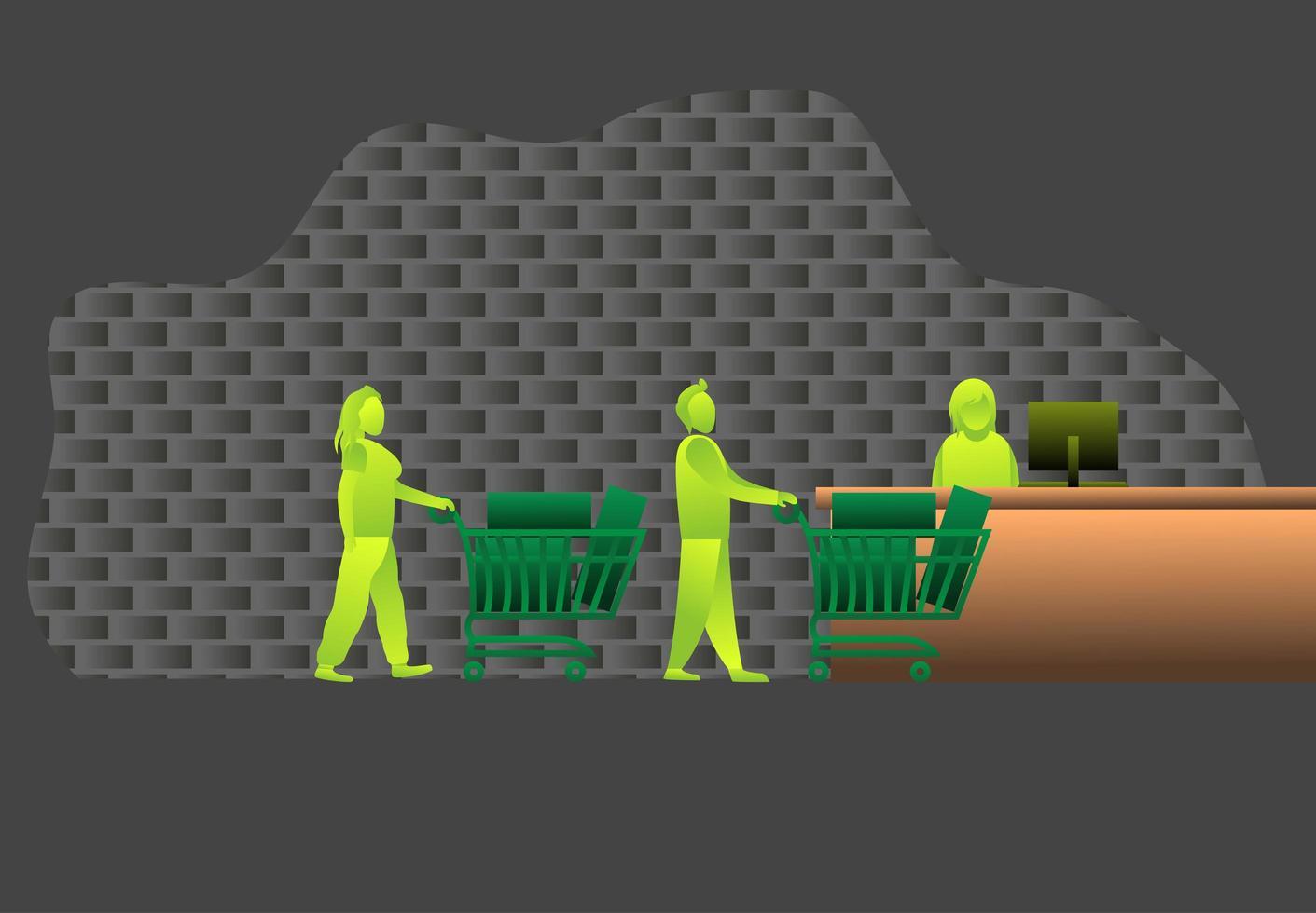 les clients se tiennent en ligne supermarché, illustration vectorielle de caddie, dessin animé achat hors ligne vente ramadhan kareem et quarantaine à la maison. bon caissier de vente de caractère vecteur
