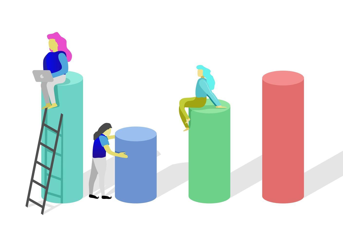design colorufl con donne sui cilindri vettore