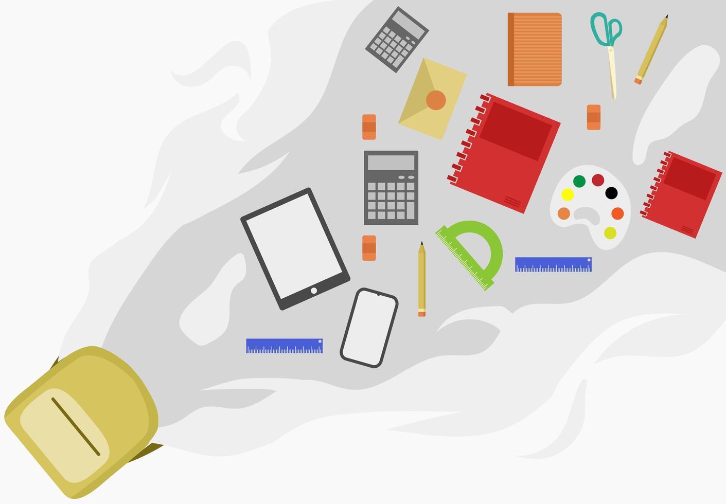 torna a scuola design con zaino e materiale scolastico vettore
