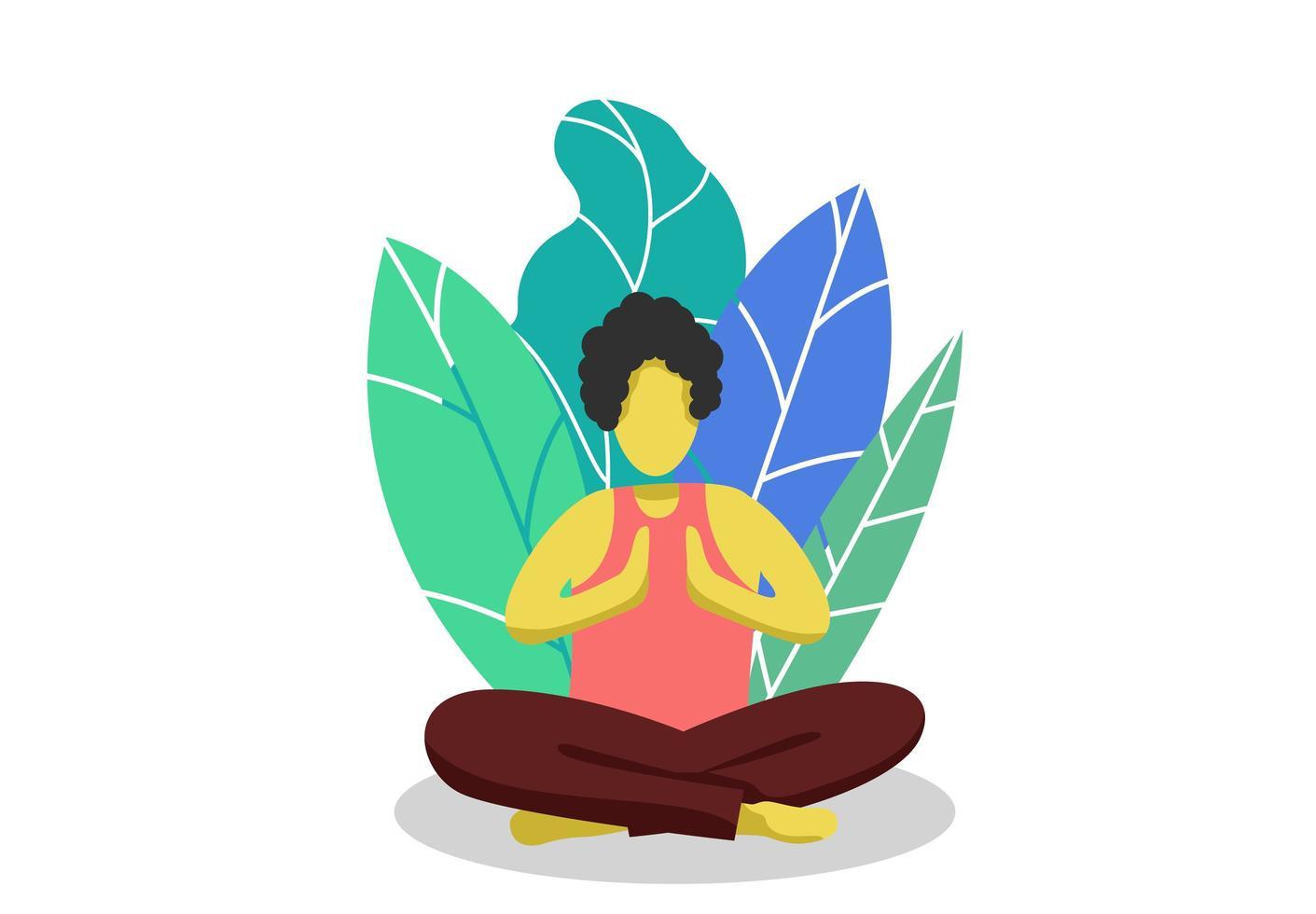 joven relajado y enfocado haciendo yoga vector