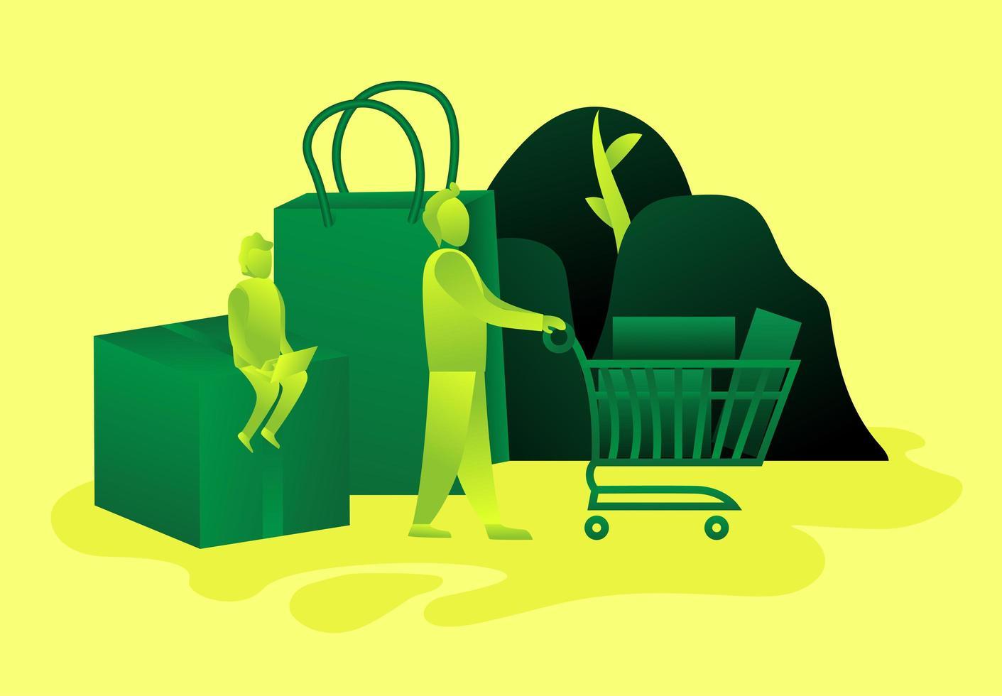 persona con carrito de compras y persona sentada en caja vector
