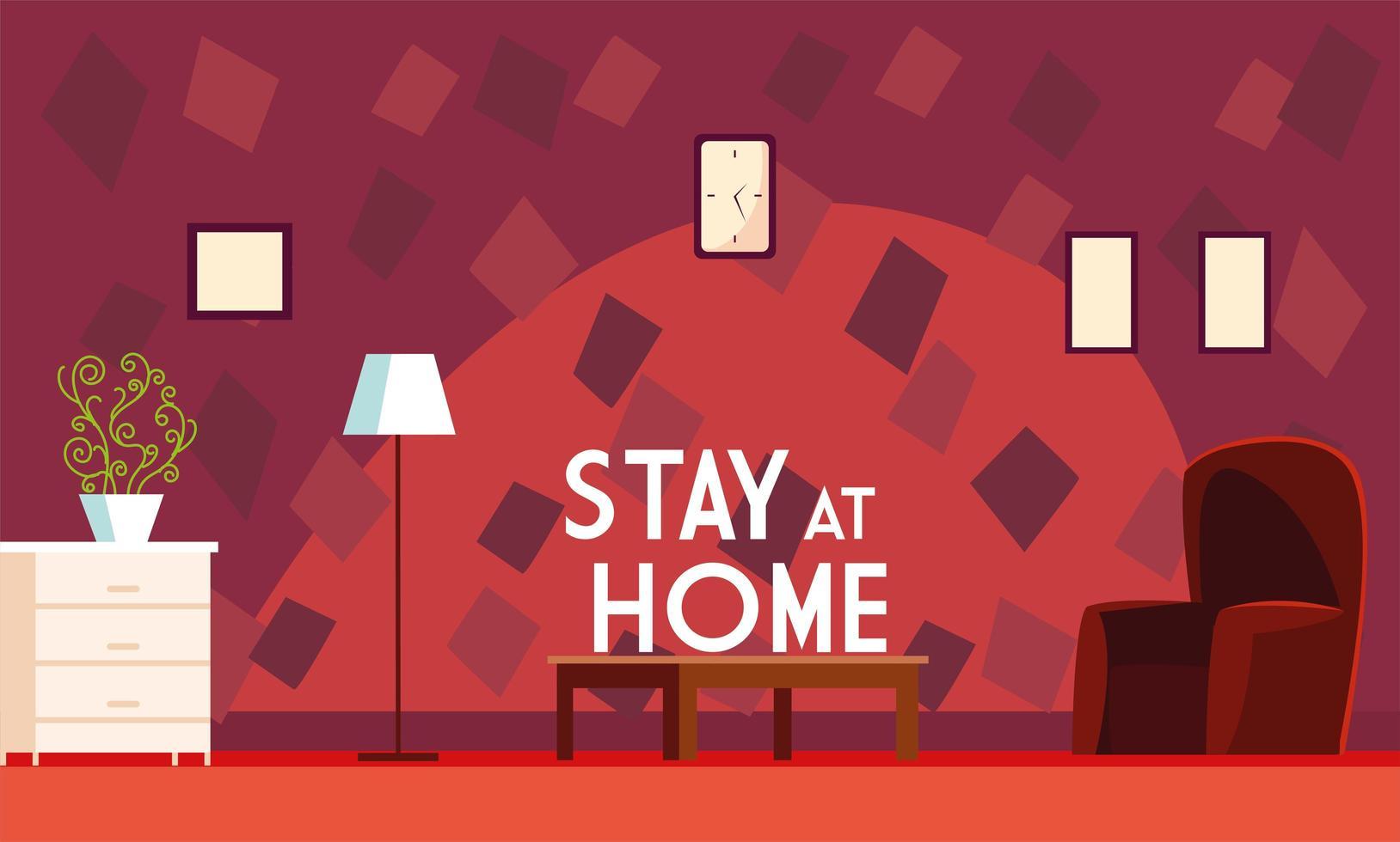 stanna hemma text i rött vardagsrum vektor