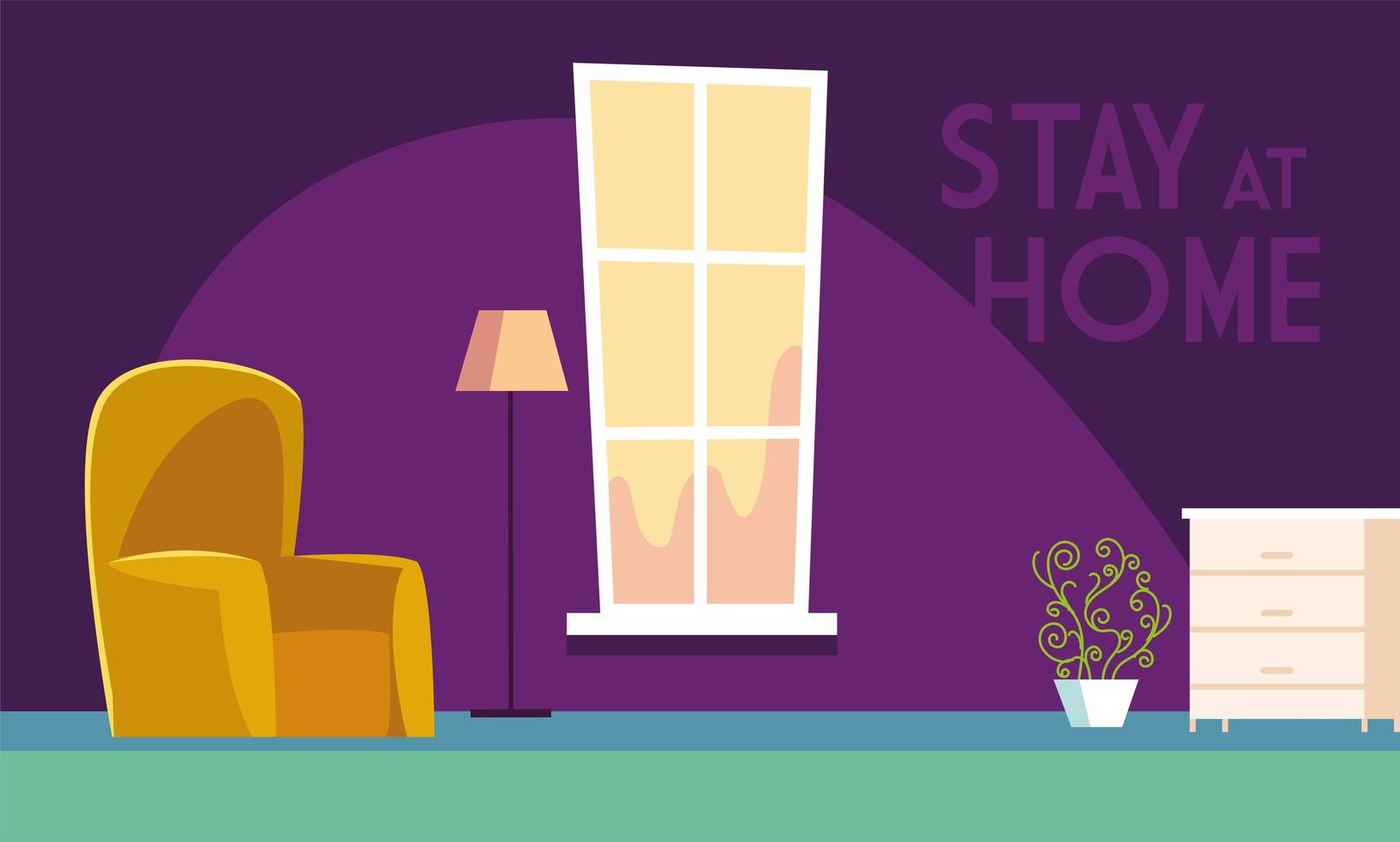 Stay at home text in living room vector