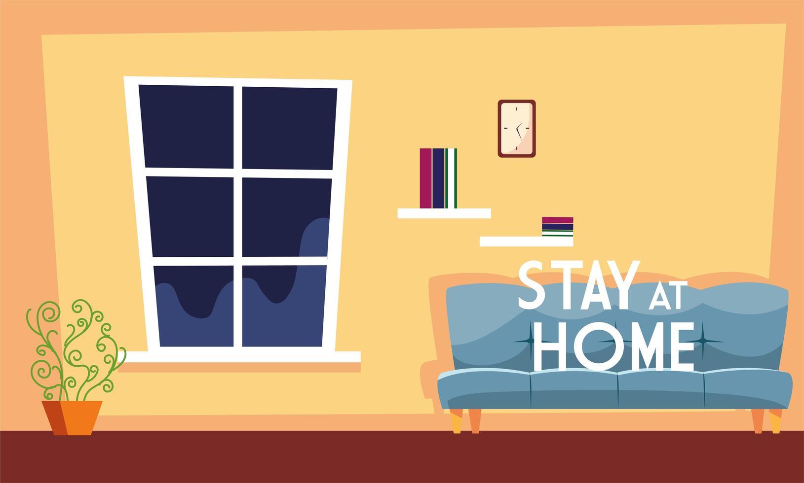 quédate en casa texto y una linda sala de estar vector