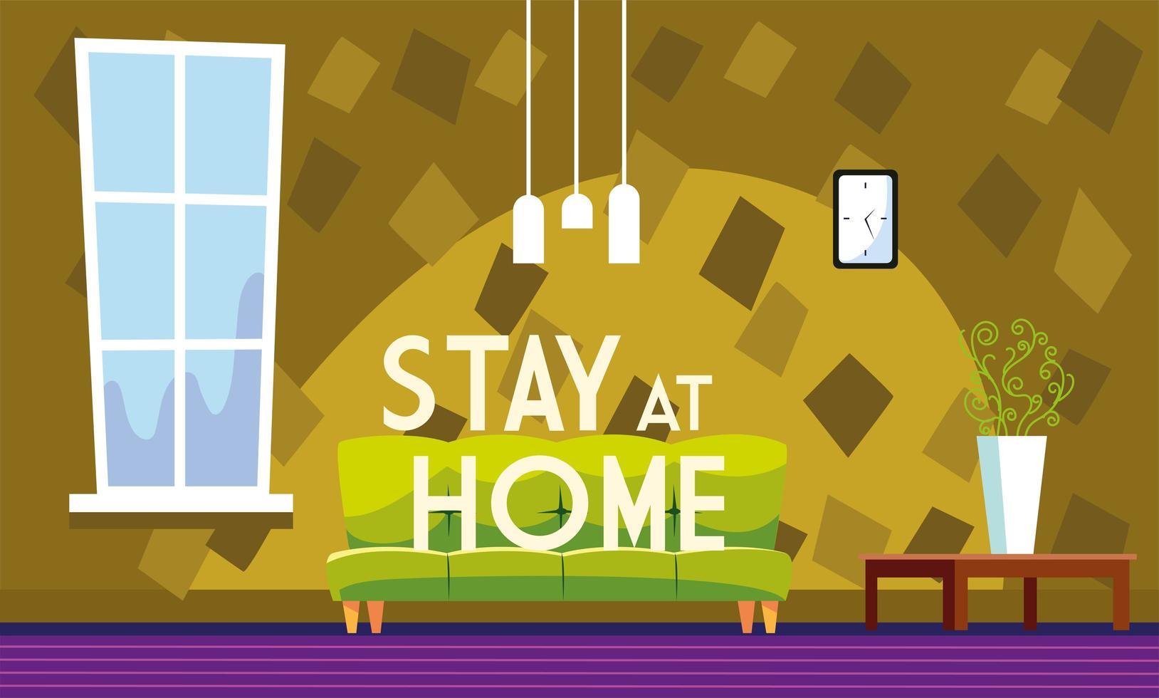 quedarse en casa texto y sala de estar sin gente vector