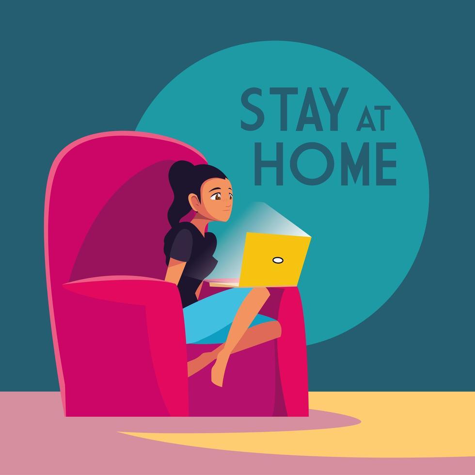 quedarse en casa conciencia y una mujer en la computadora portátil vector