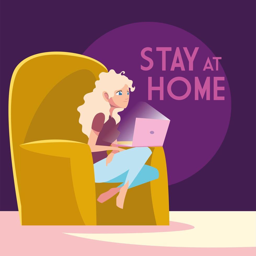 vrouw in stoel op laptop thuis blijven vector