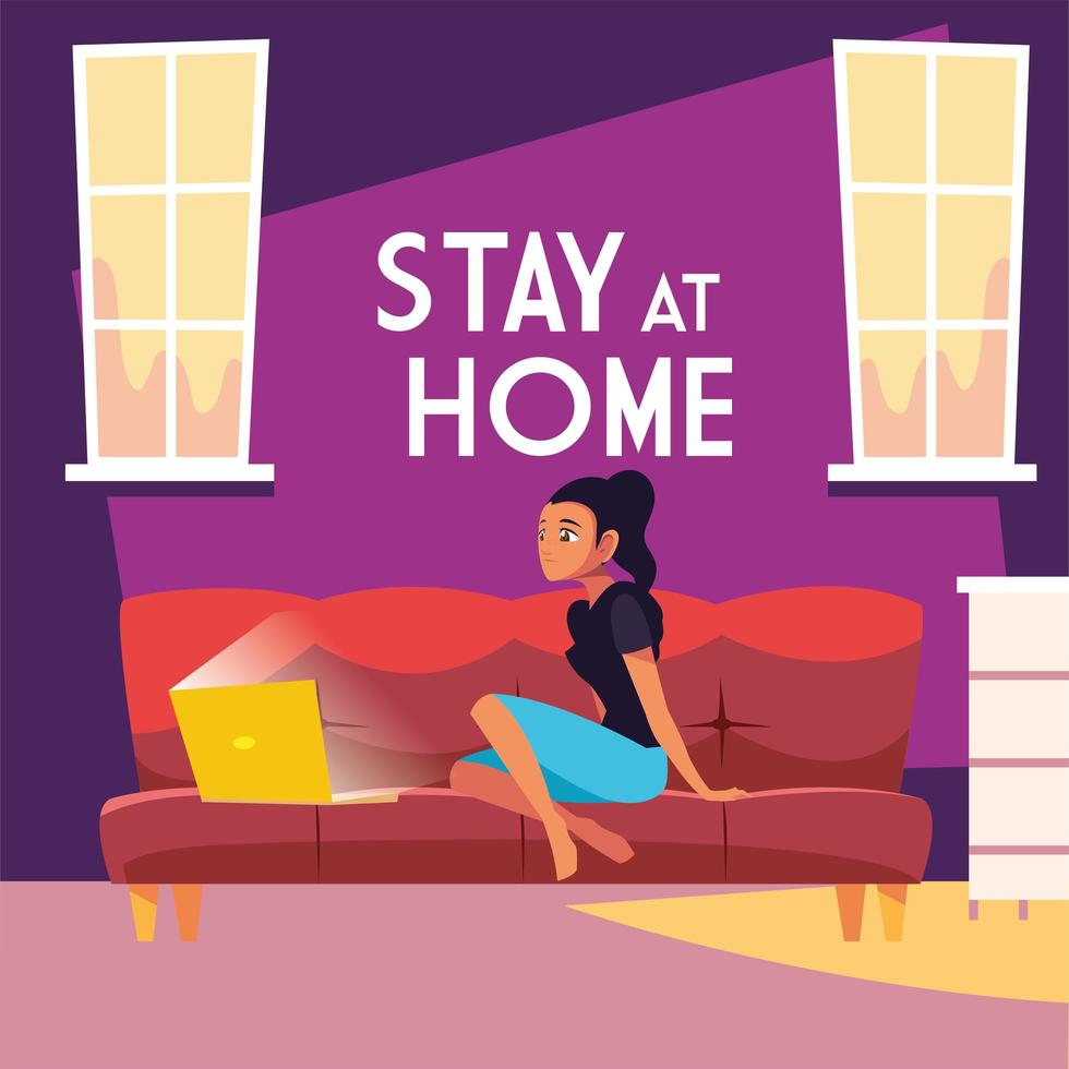 Stay at home awareness with a young woman on laptop vector