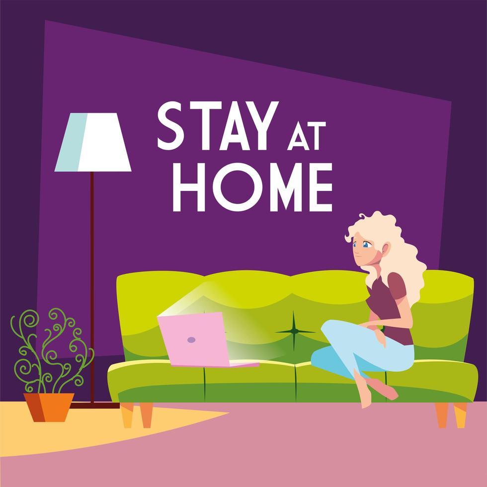 quedarse en casa mujer de conciencia conectando con su computadora portátil vector