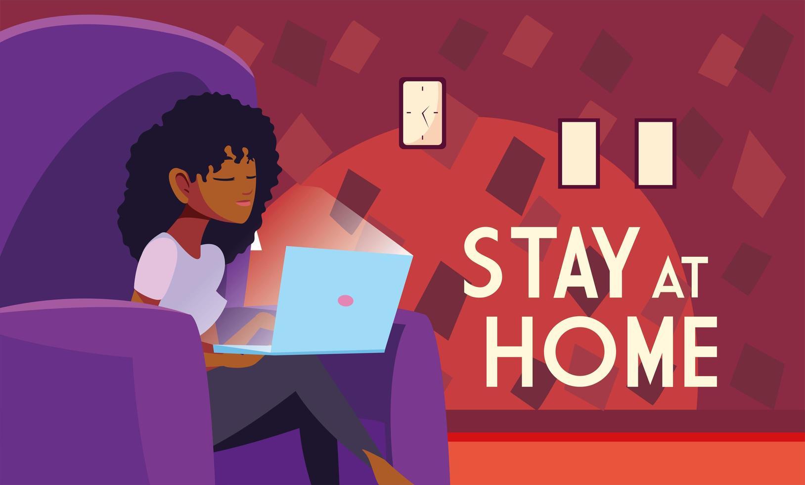mujer en silla en la computadora portátil permanecer seguro en casa vector
