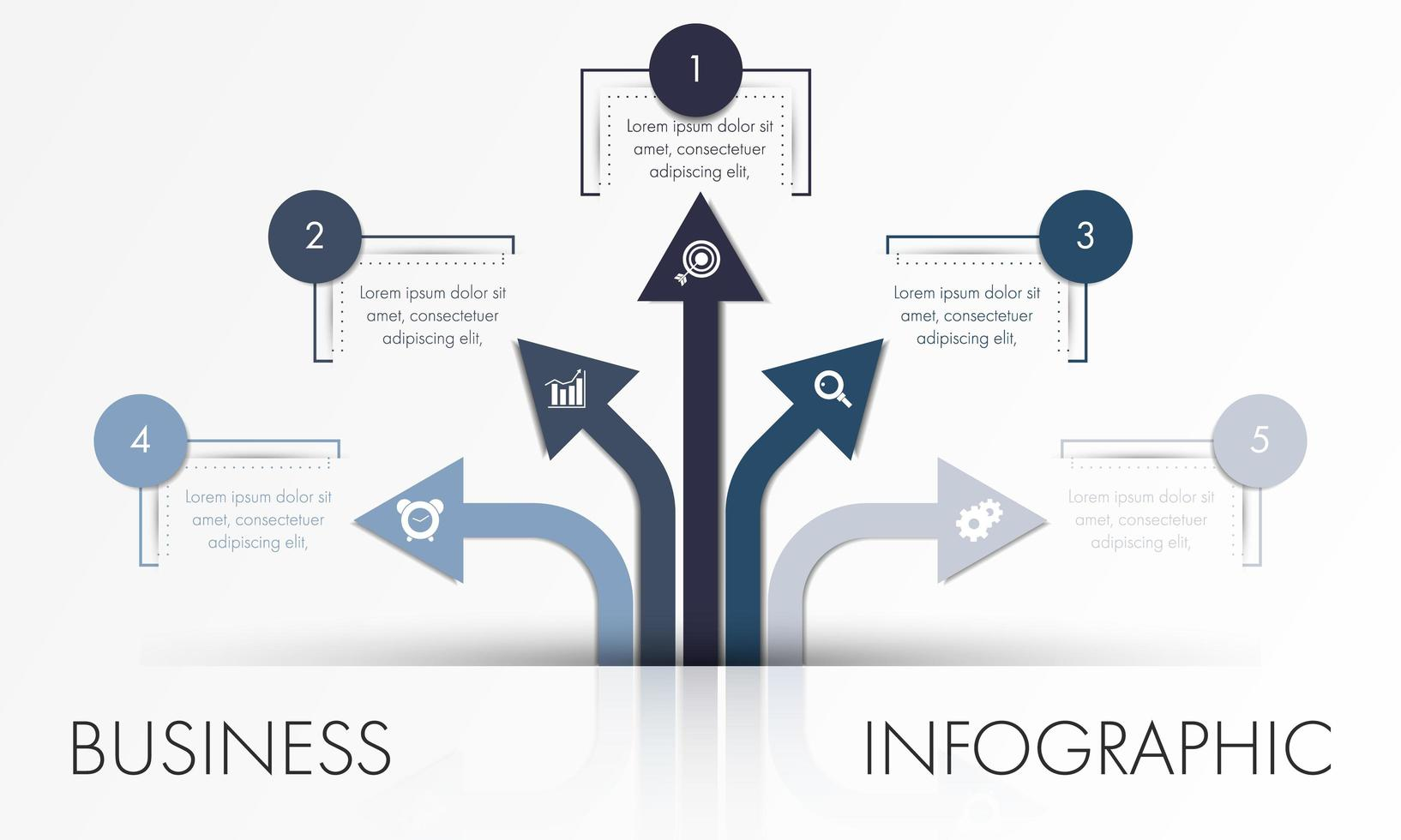 Blue and grey arrow business infographic template vector