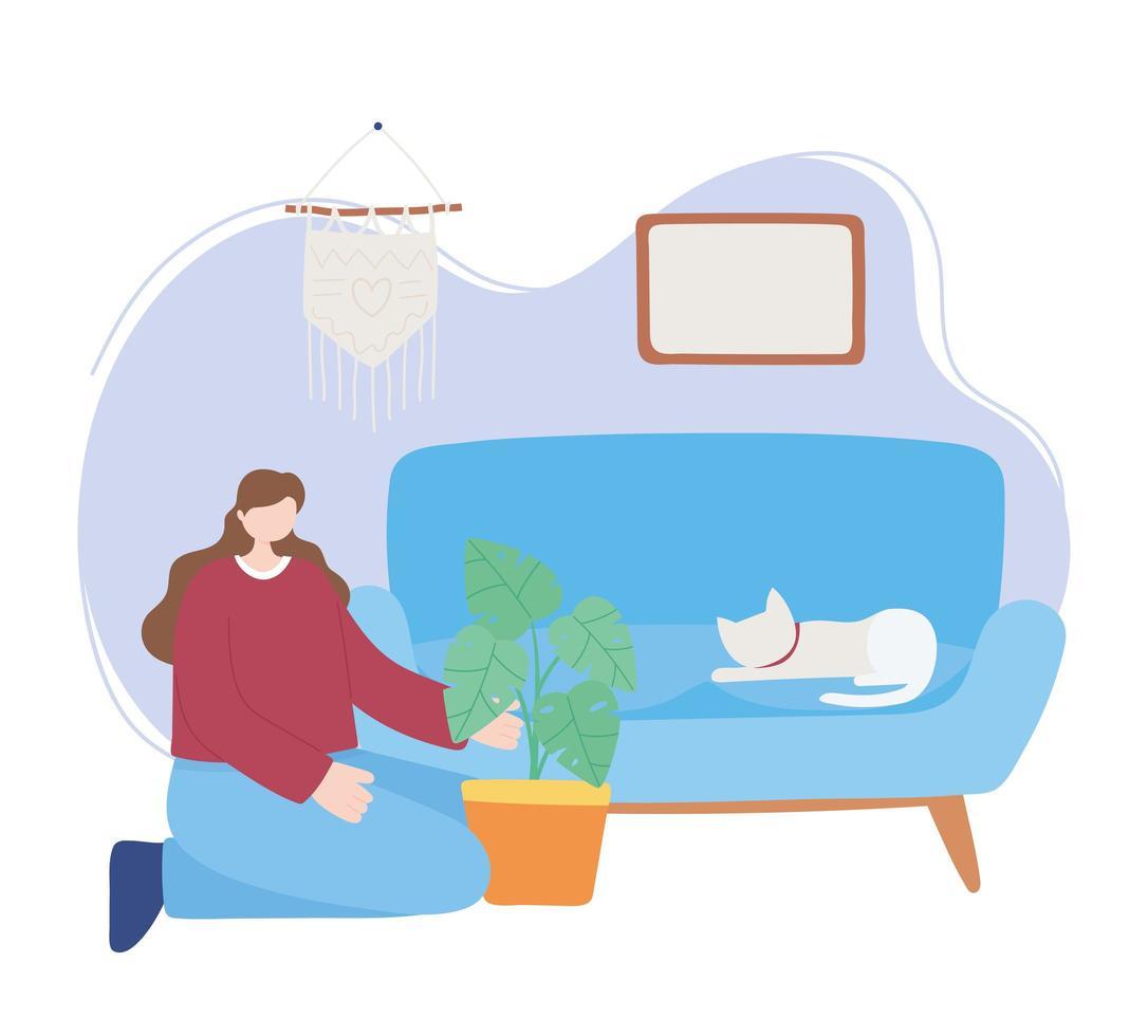 mujer con una planta y un gato en el sofá vector