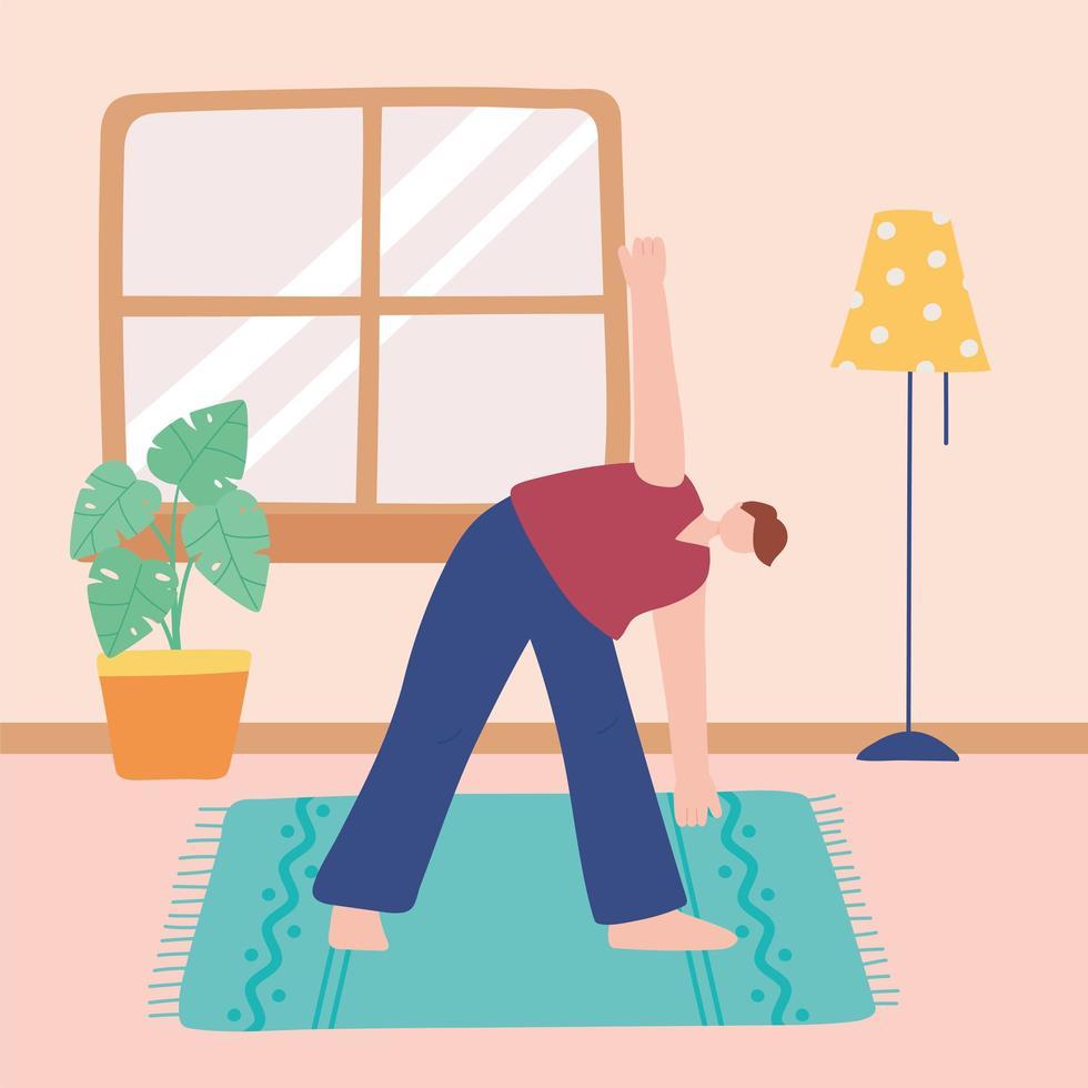 niño practicando yoga en la sala de estar vector