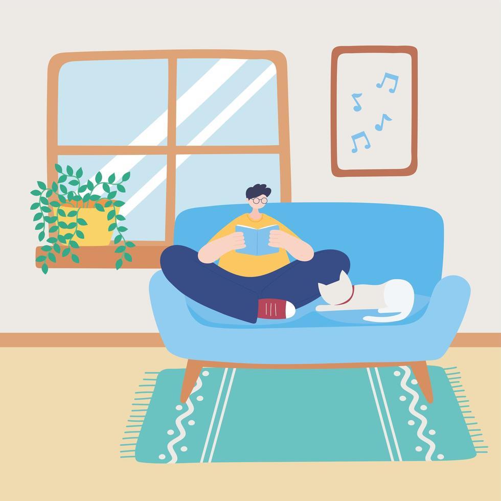 ragazzo seduto sul divano con libro e gatto vettore