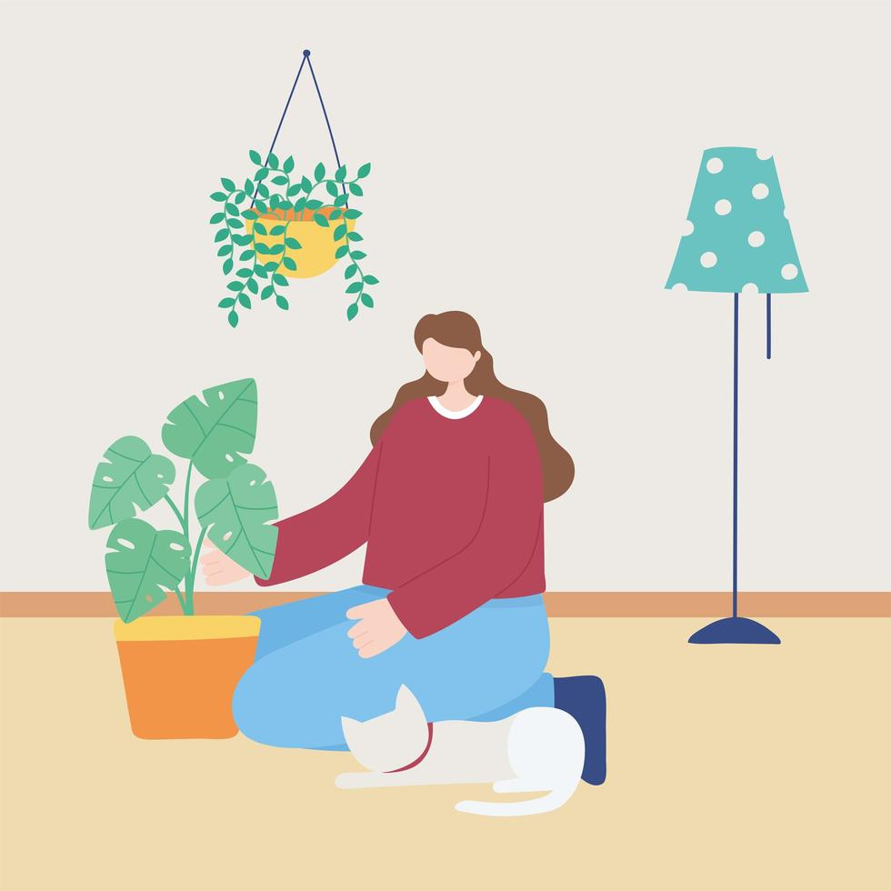 Woman taking care of indoor plants vector