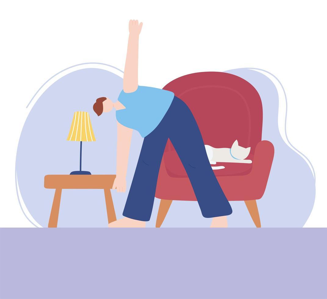 man beoefenen van yoga met kat op de stoel vector