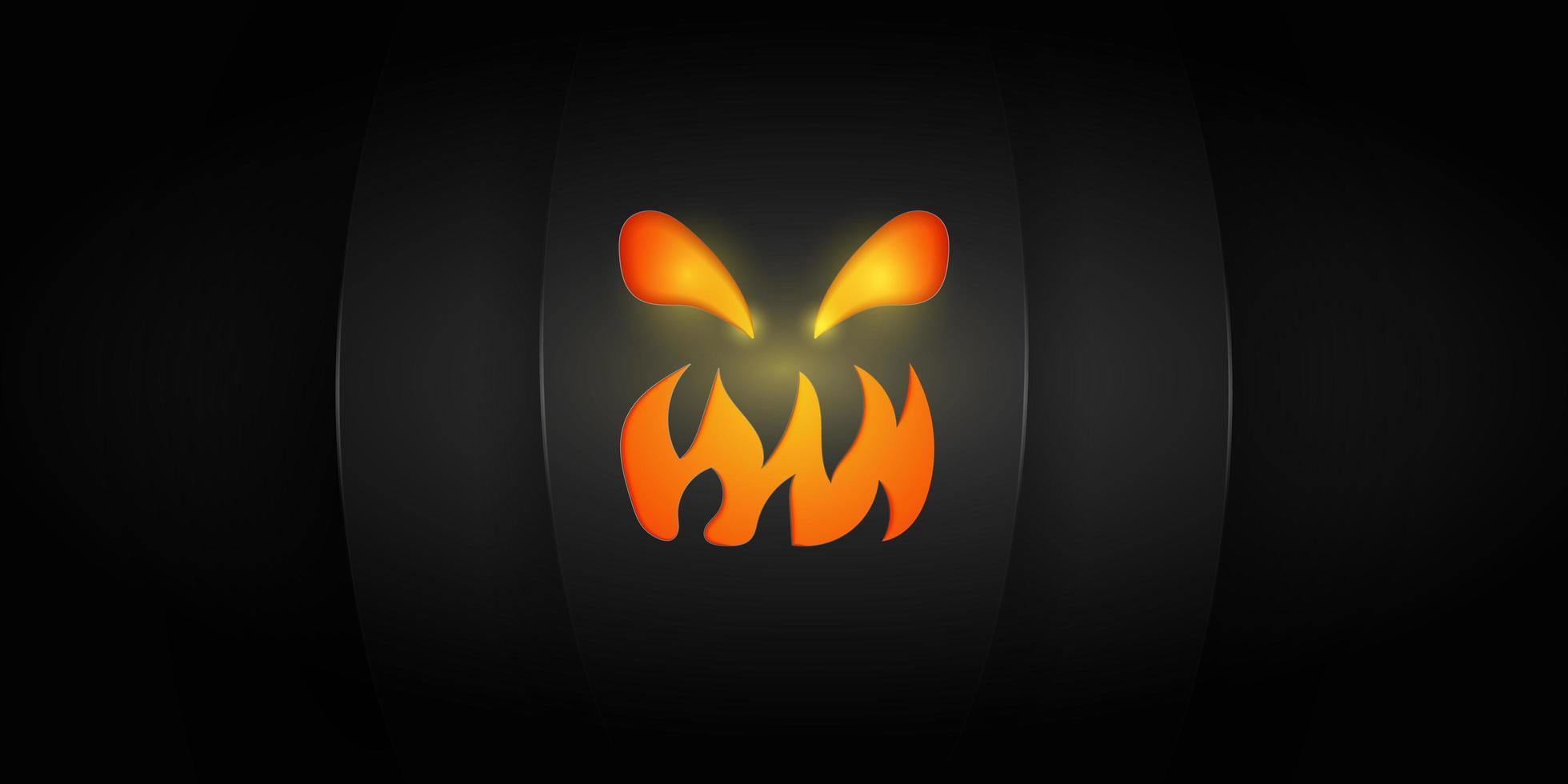 brillante cara de jack-o-lantern en negro vector