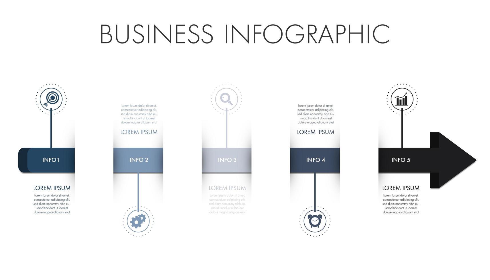 blauwe en grijze pijlvorm zakelijke infographic sjabloon vector