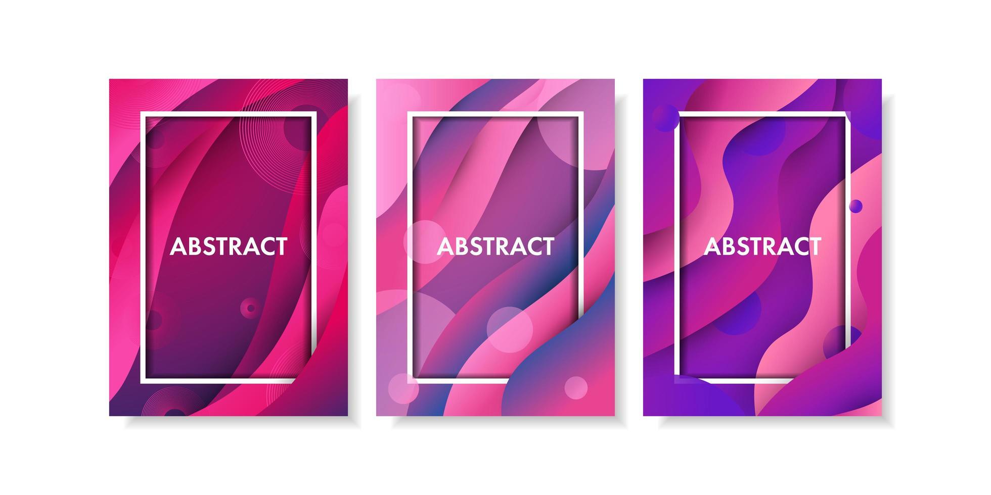 conjunto de forma fluida degradado rosa y púrpura abstracto vector