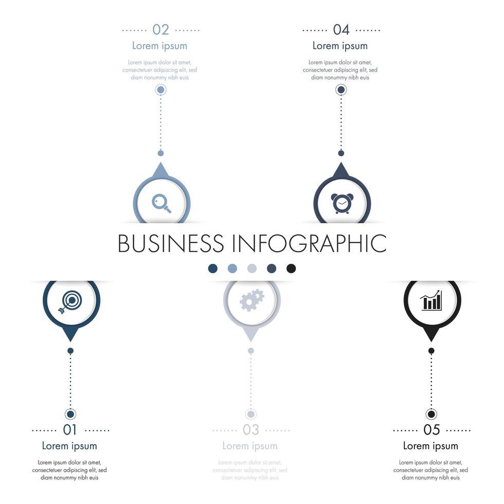 Infographie en 5 étapes avec des cercles avec des flèches vecteur