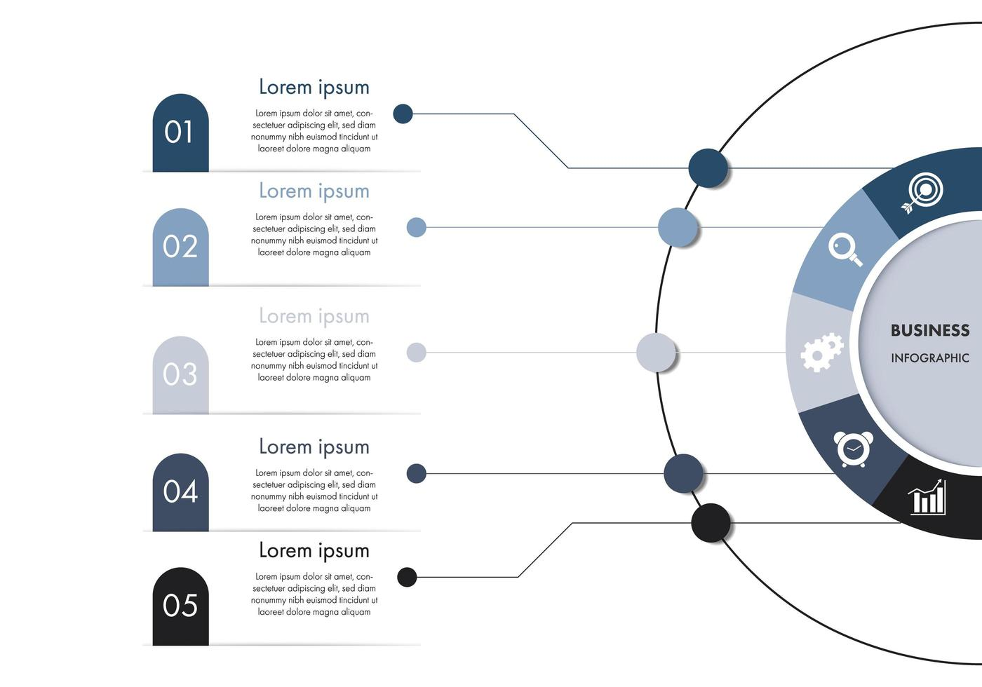 Plantilla de infografía empresarial de círculo azul y blanco vector