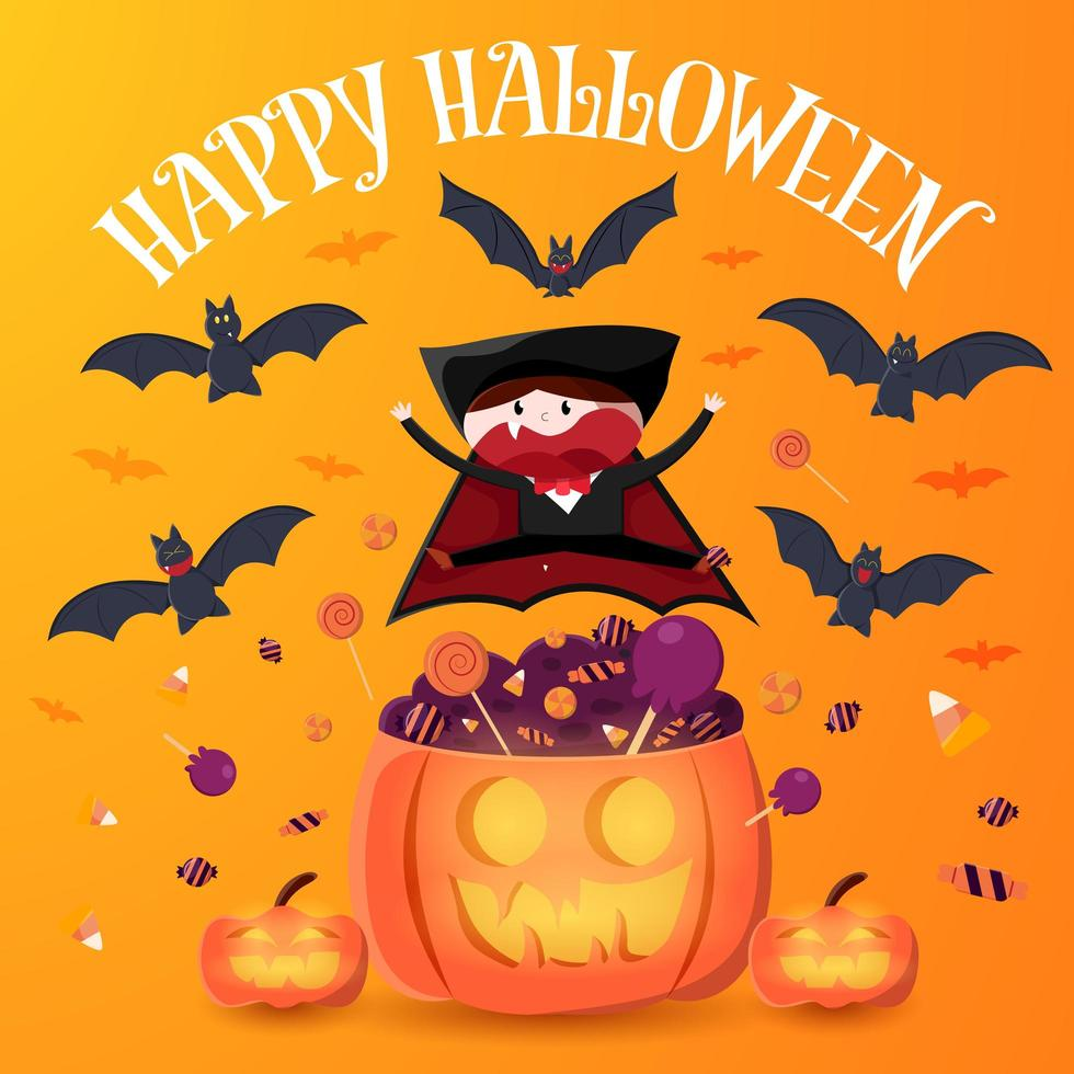 niño feliz en traje de vampiro saltando sobre calabaza vector