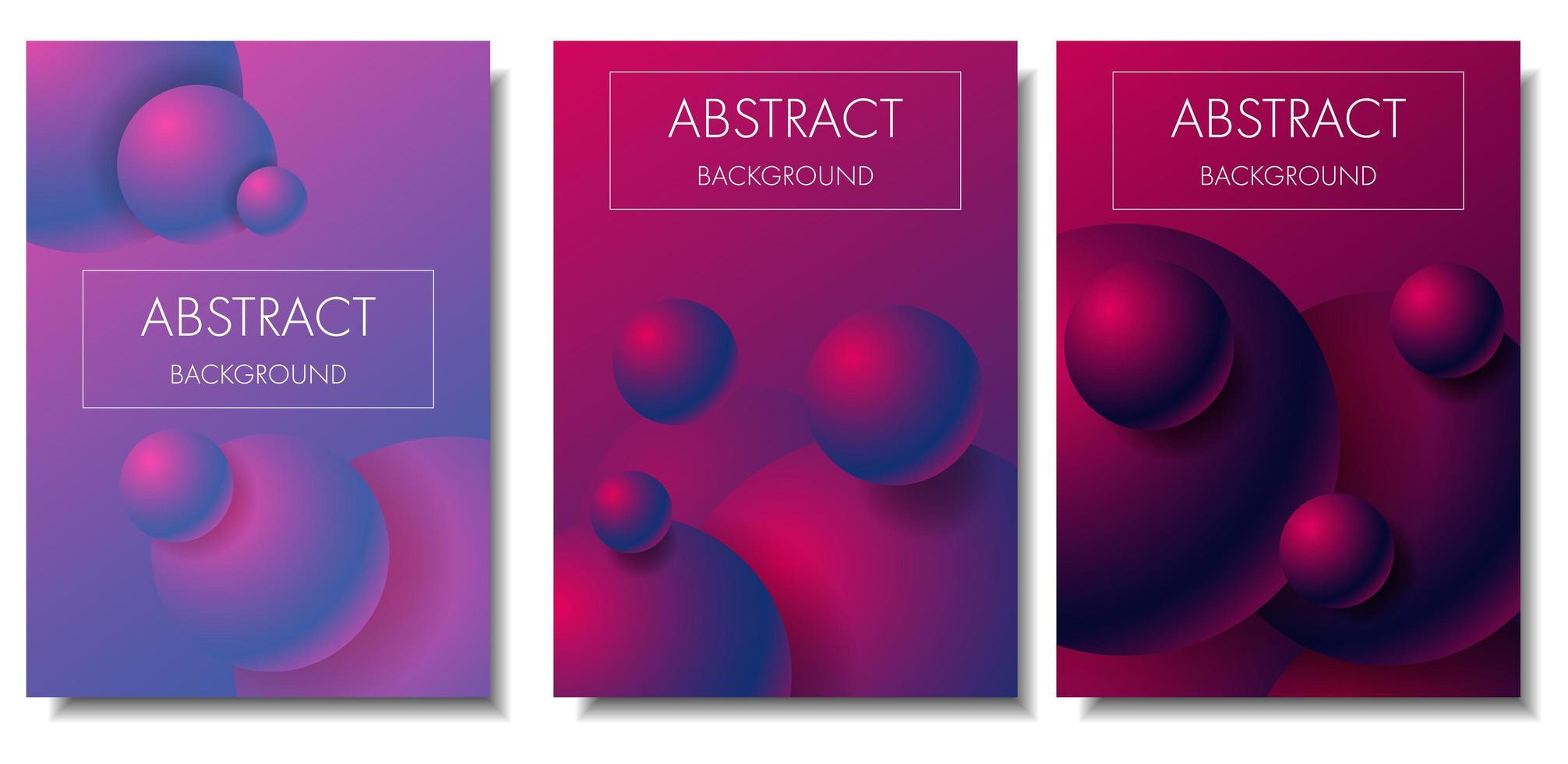 Conjunto de tarjeta de esferas de colores degradado 3d vector