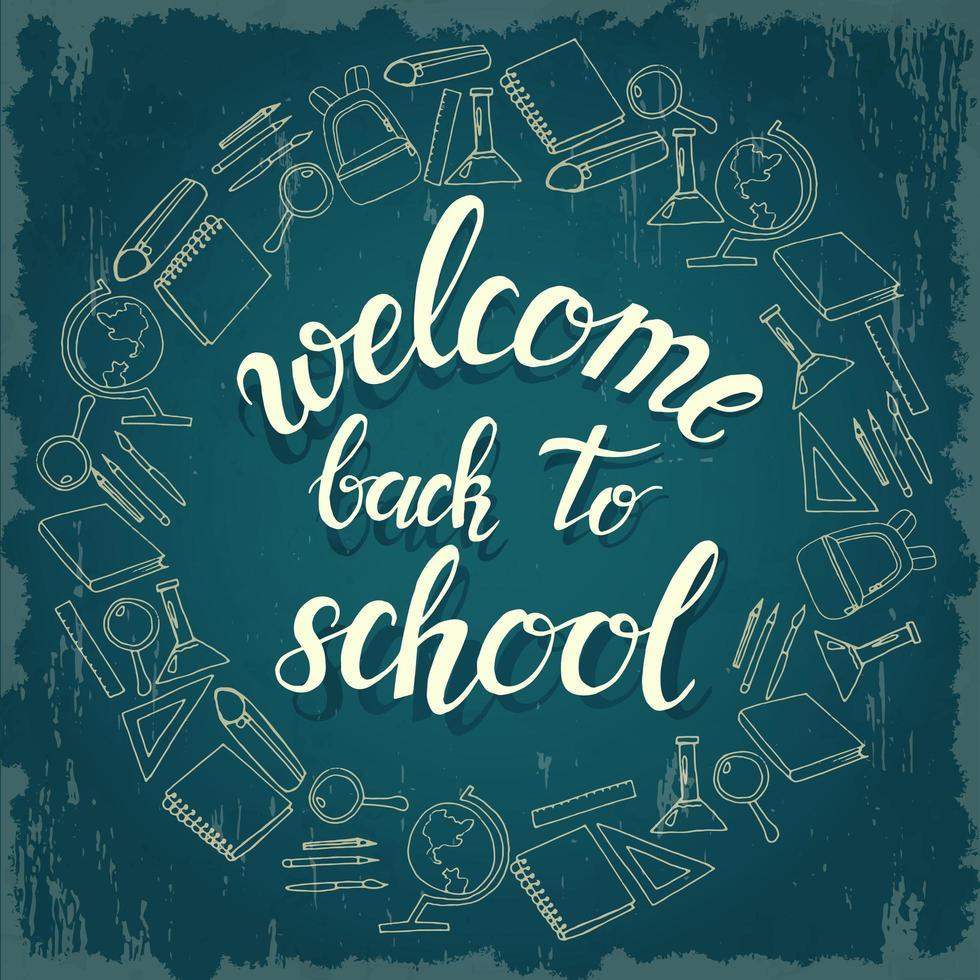 bienvenido de nuevo a la escuela, caligrafía y garabatos escolares vector