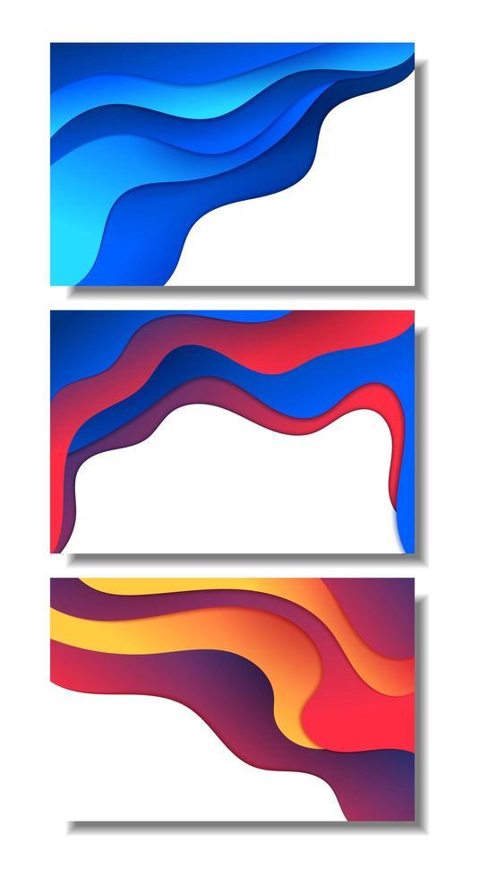couches courbes dégradées lumineuses sur jeu de cartes blanches vecteur