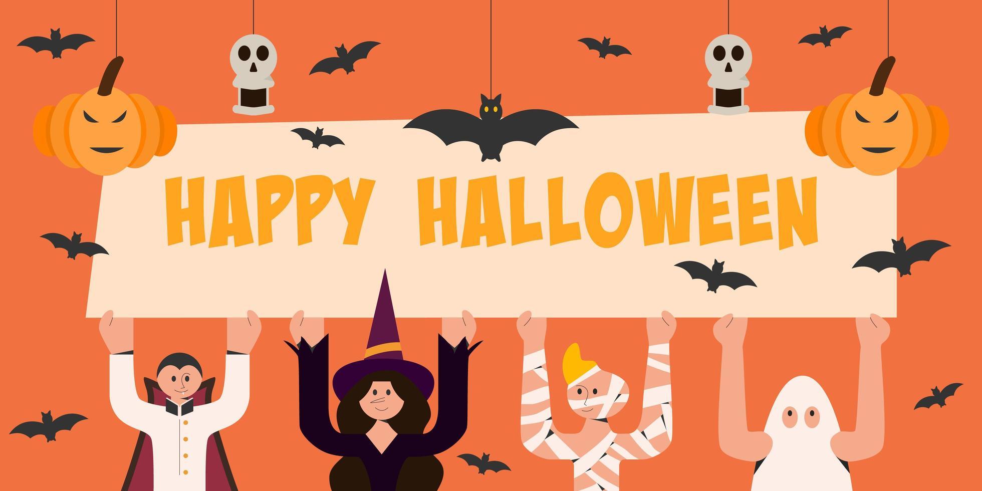 personajes del día de halloween con cartel de feliz halloween vector