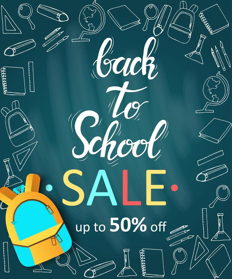 Back to school sale banner with doodles and backpack vector