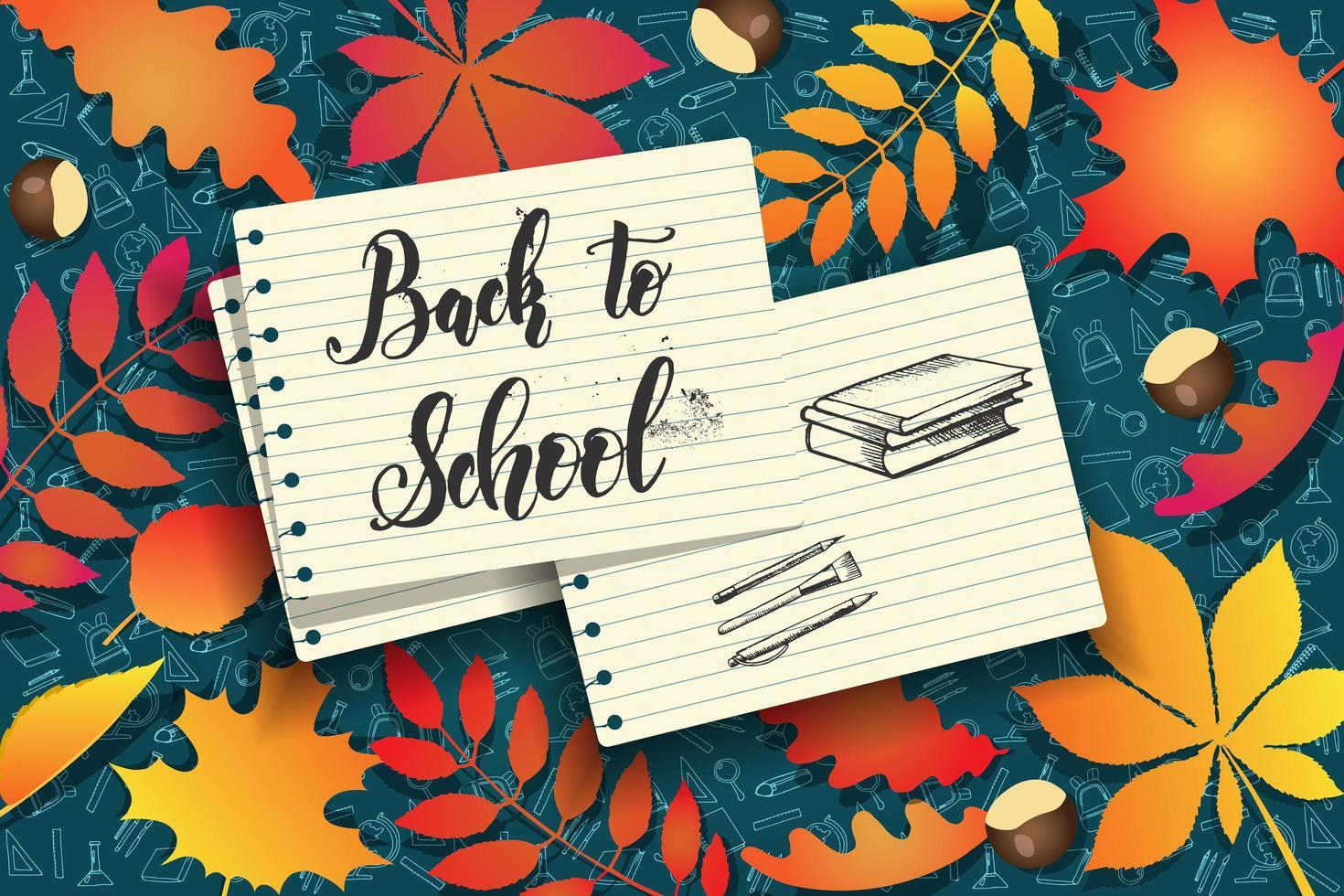 torna a scuola scarabocchi disegnati a mano su carta sopra le foglie vettore