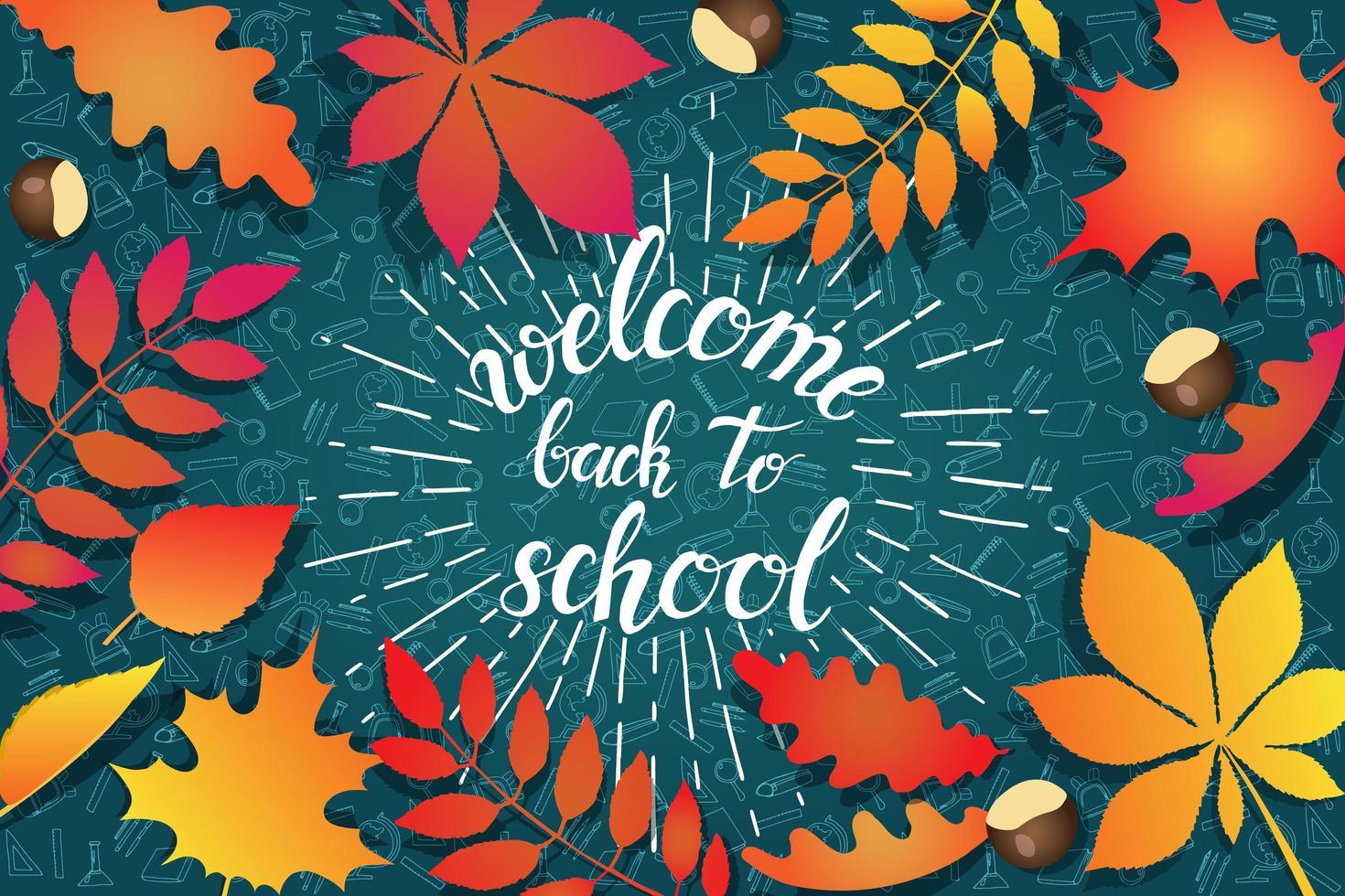 bienvenido de nuevo a la escuela hojas de otoño y garabatos vector