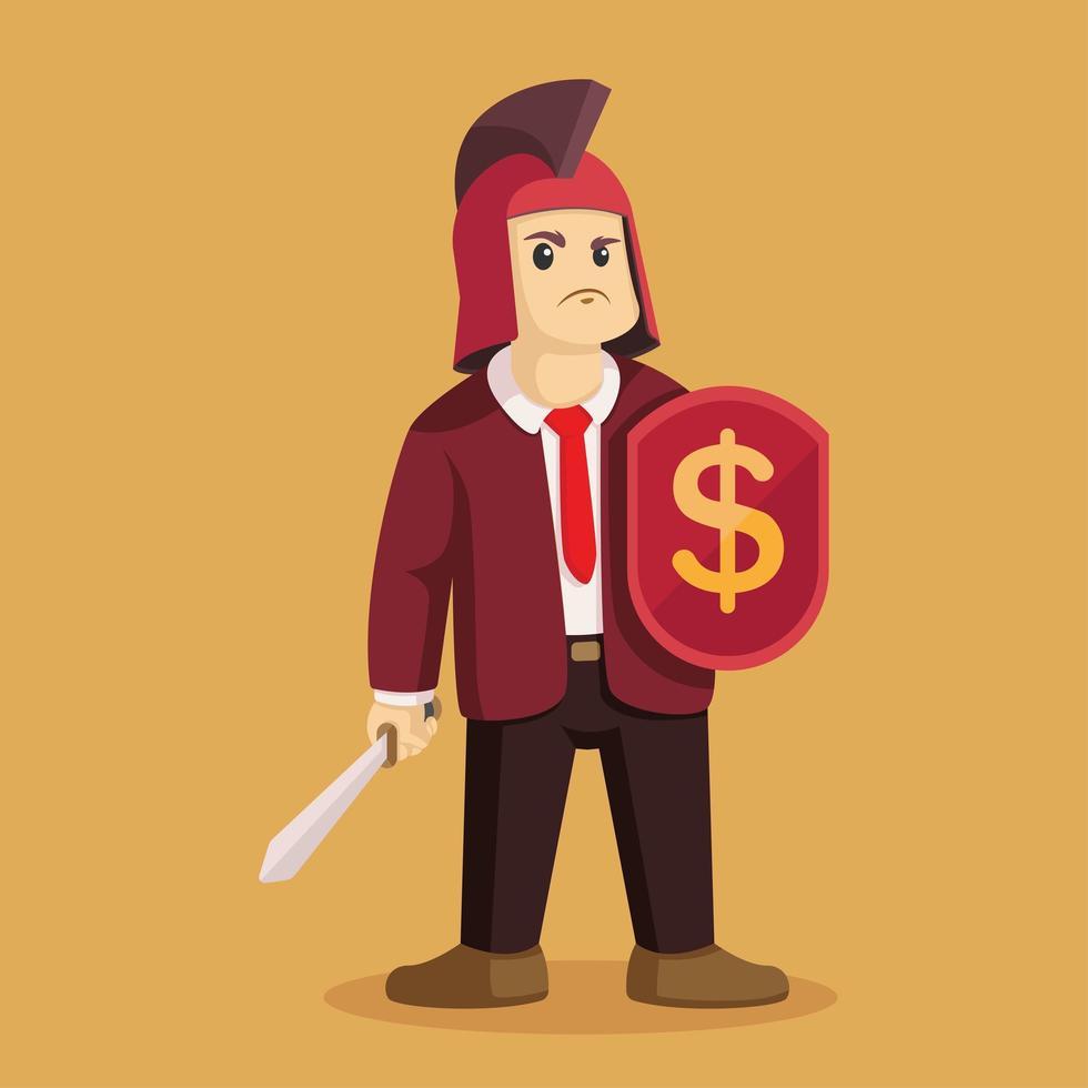 hombre de negocios guerrero sosteniendo espada y escudo vector
